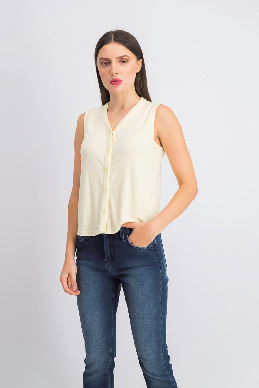 Women's Button Down Top, Light Yellow
