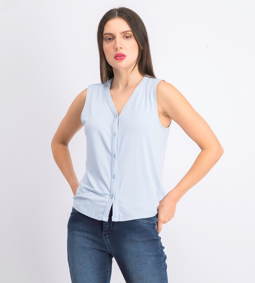 Women's Sleeveless Top, Light Blue