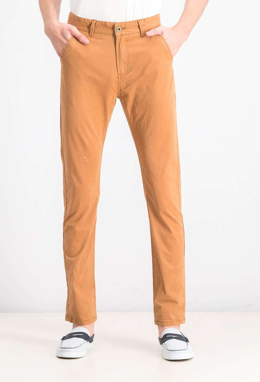 Mens Belted Standard Pants, Brown