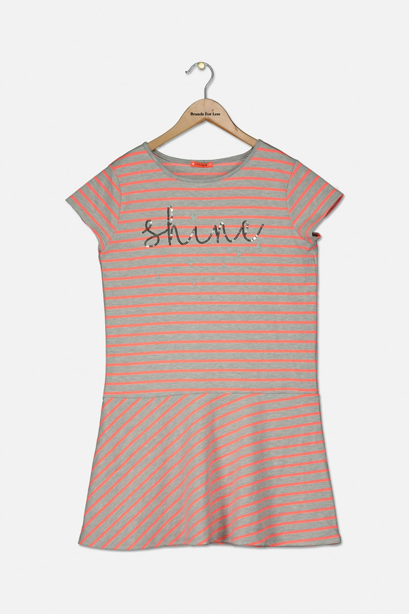 Kids Girl's Short Sleeve Stripe Dress, Grey/Neon Orange