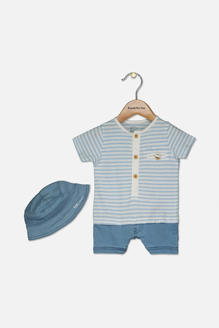 Toddler's Baby Boy Stripes Body Suit With Cap Set, Light Blue/White