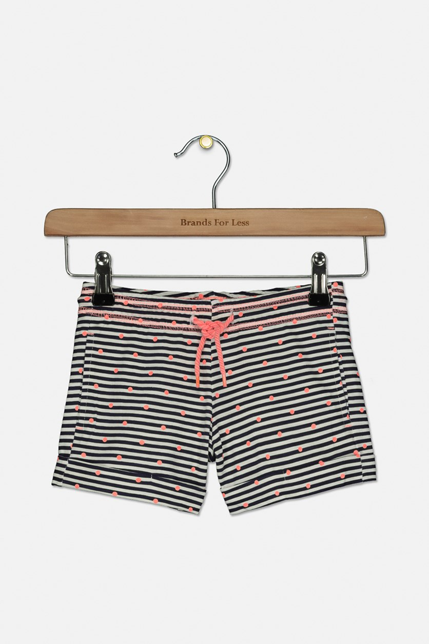 Toddler Girl's Stripe Short, Navy/Neon Orange