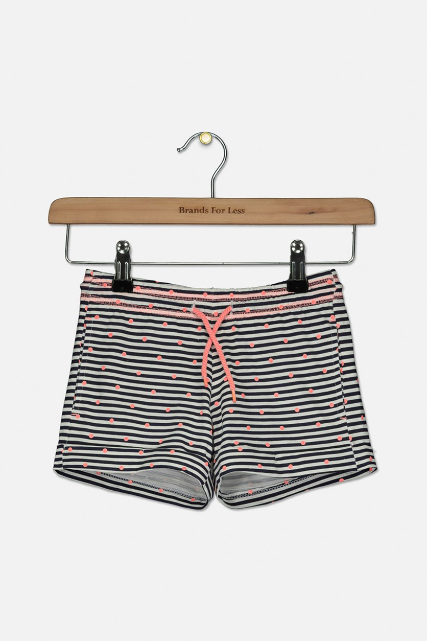 Kids Girl's Stripe Short, Navy/Neon Orange
