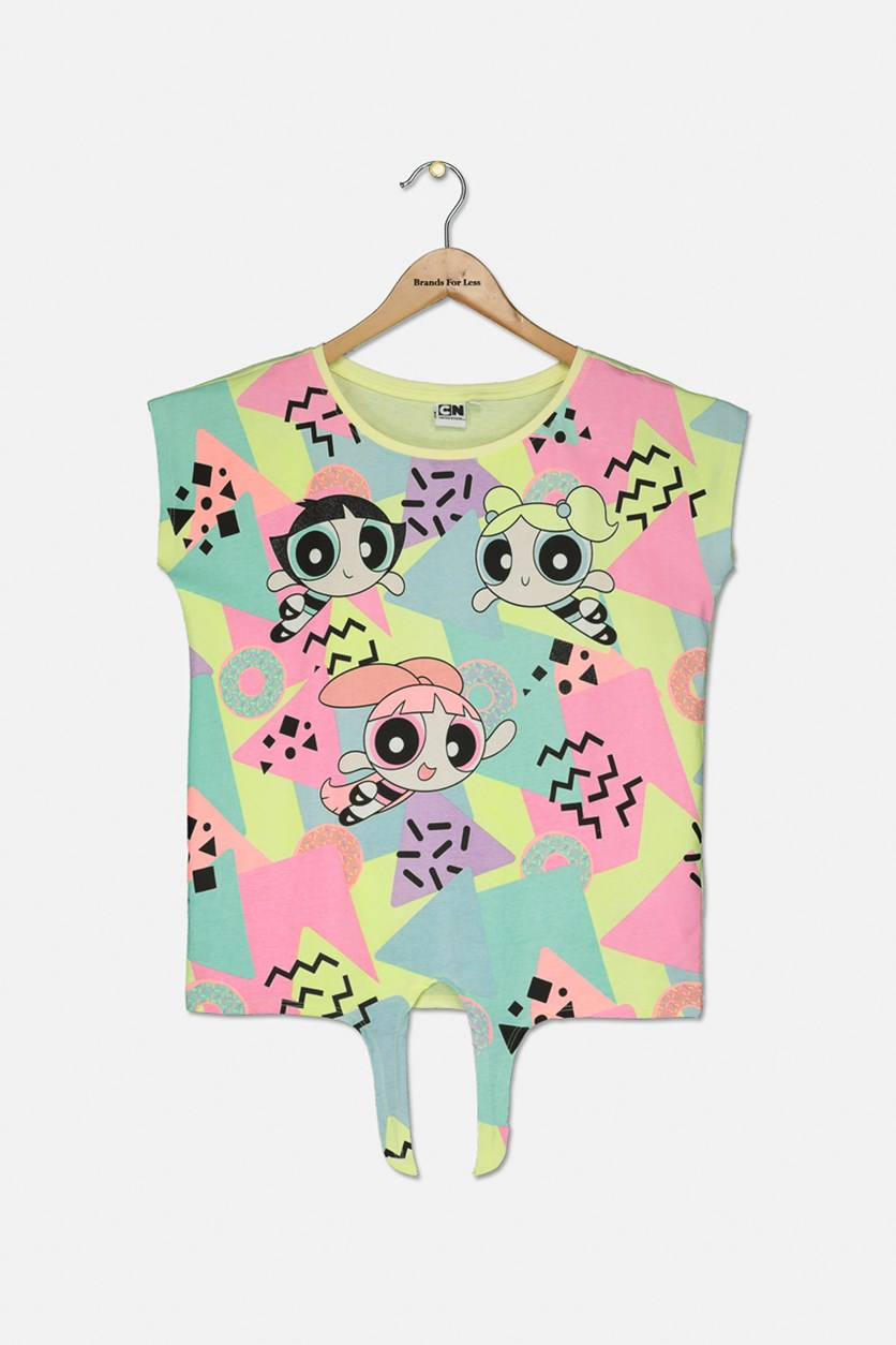 Kids Girls Printed Tops, Yellow Combo