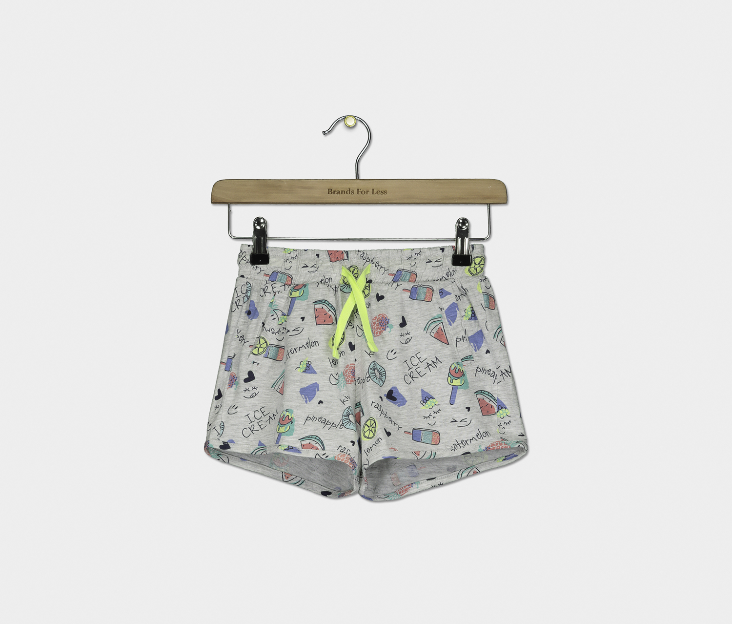 Girl's Graphic Print Drawstring Short, Grey Combo