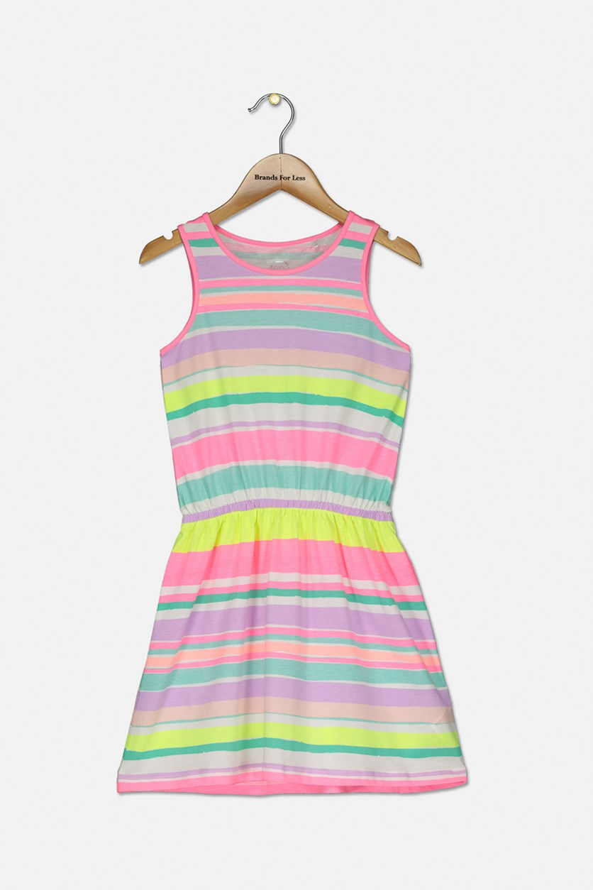 Girl's Sleeveless Stripe Dress, Coral/Green/Purple Combo