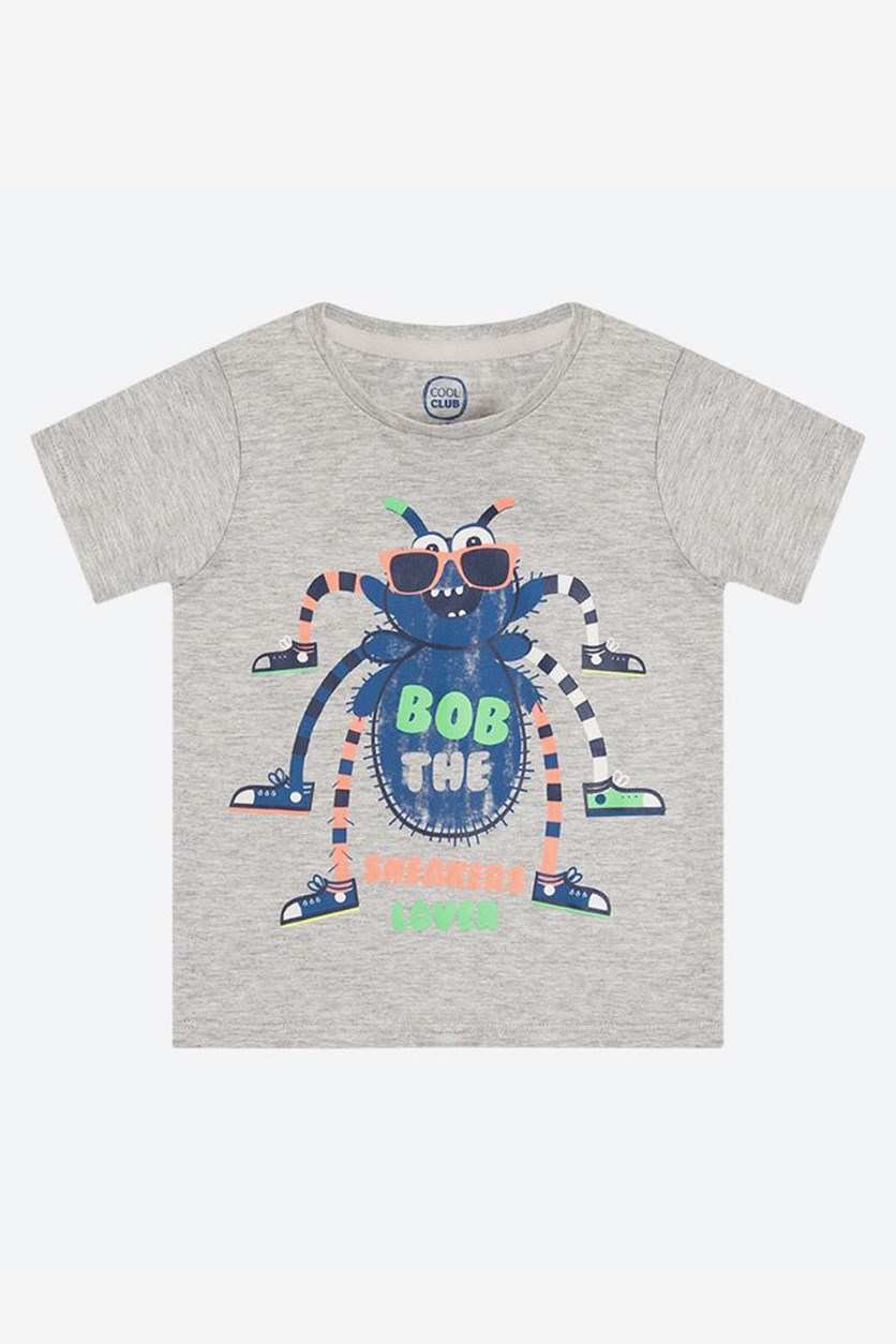 Toddler Boy's Spider  Print T-Shirt, Grey Combo