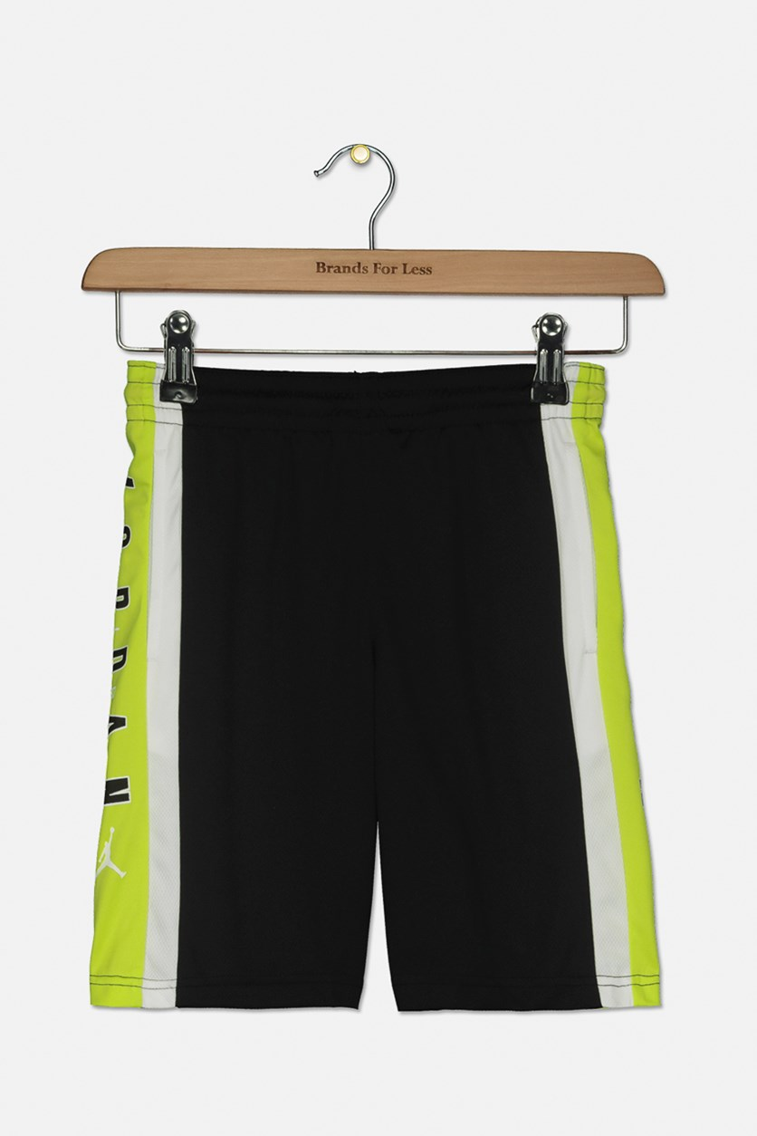 Boys Rise Colorblocked Shorts, Black/Cyber