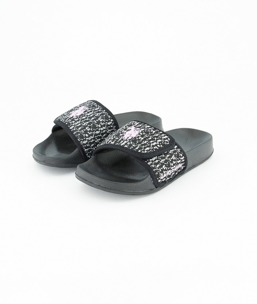 Kids Girls Slip On Slippers, Black/Pink Combo