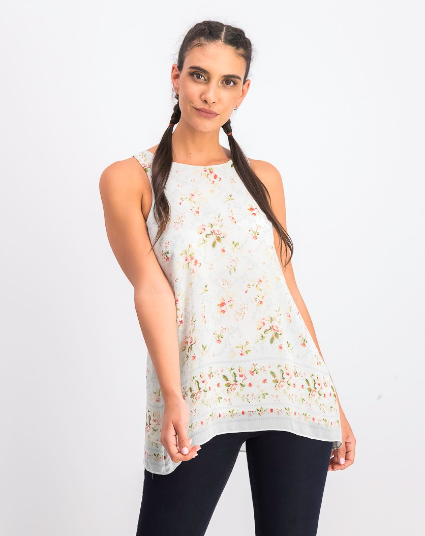 Printed Crimped Tops, Pale Blue