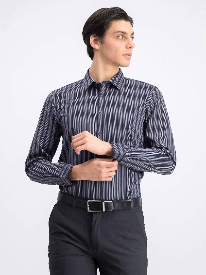 Men's Colour Stripe Casual Shirt, Navy Blue