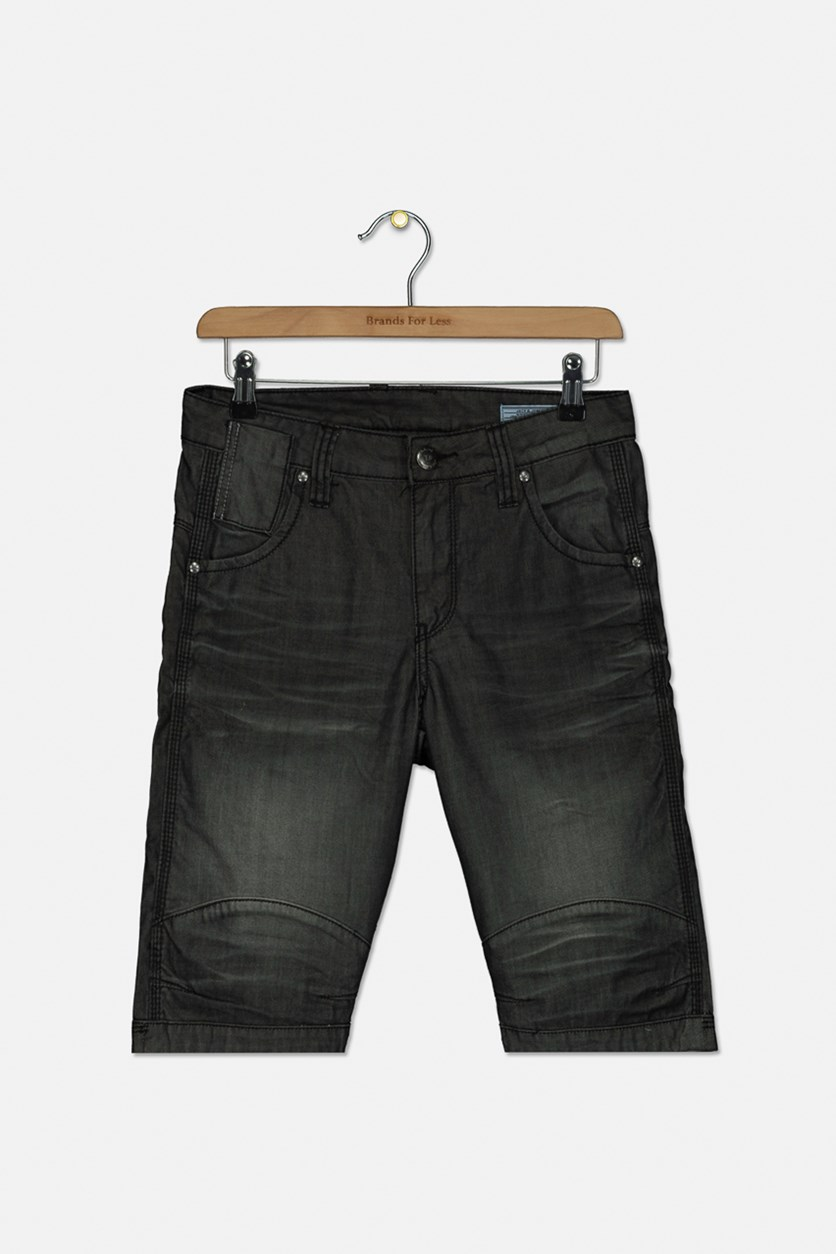 Men's Bunker Denim Shorts, Washed Black