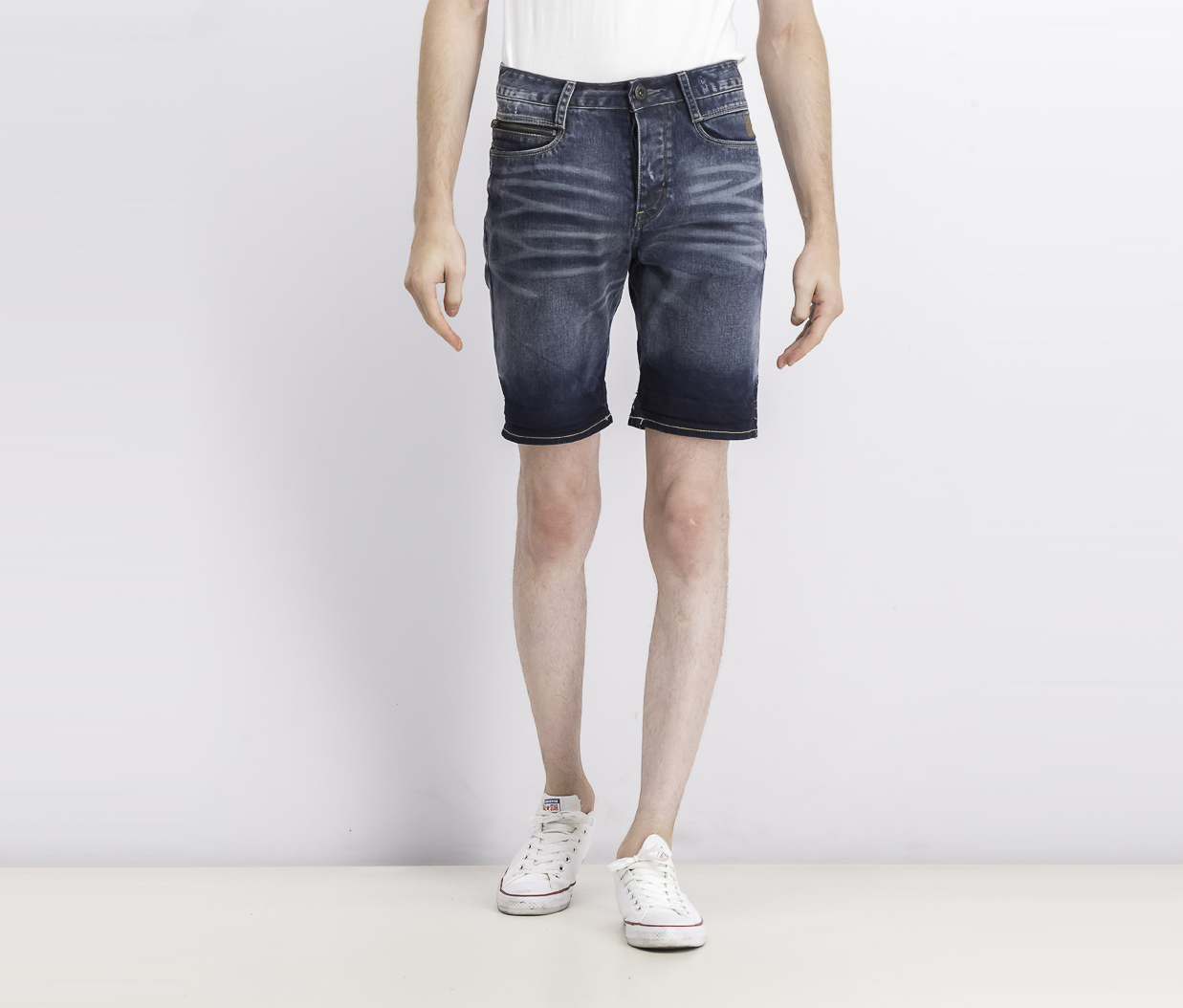 Men's Four Denim Shorts, Navy Blue