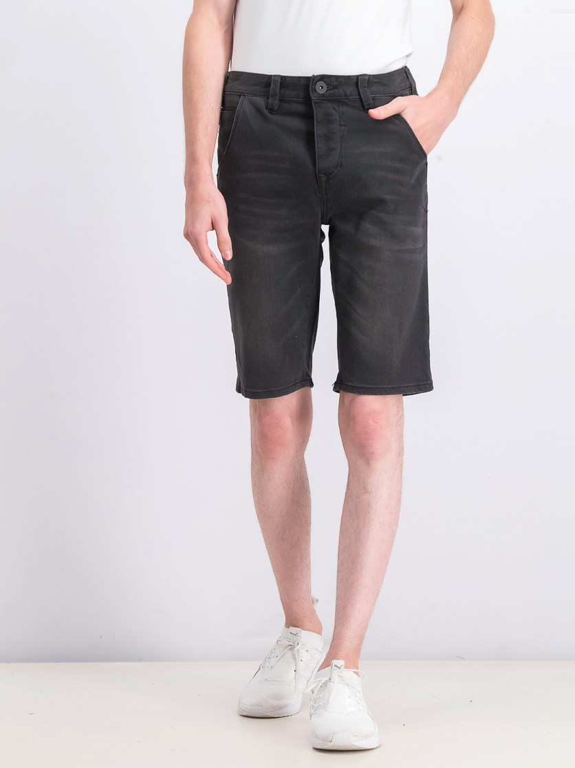 Men's Skull Denim Shorts, Washed Black