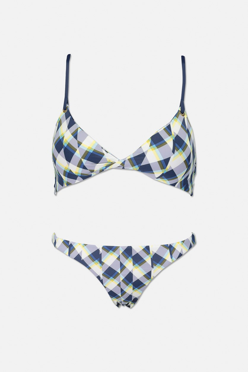 Womens Mash Up Twist Two Piece Swimwear, Navy/Yellow Combo