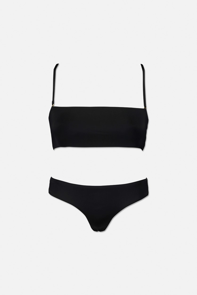 Womens Two Piece Plain Swimsuit, Black