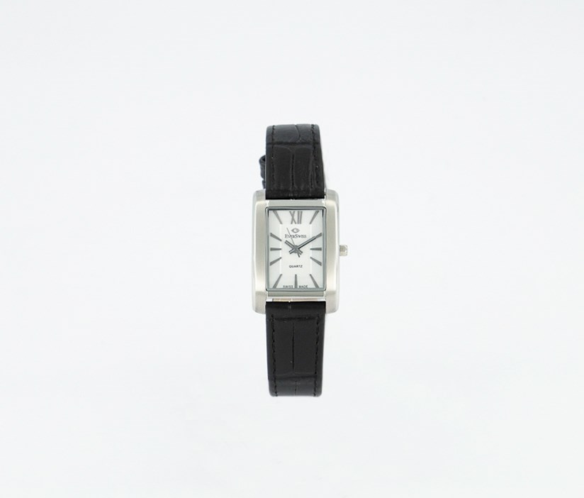 Women's 5747-LZS Leather Watch, Black/Silver