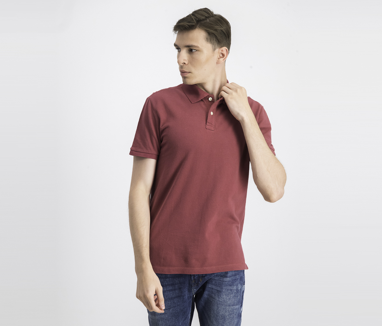 Men's Pullover Plain  Polo Shirt, Red