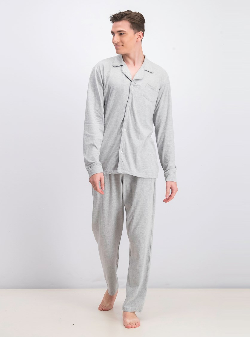 Men's Jersey Shirt And Pajama, Grey