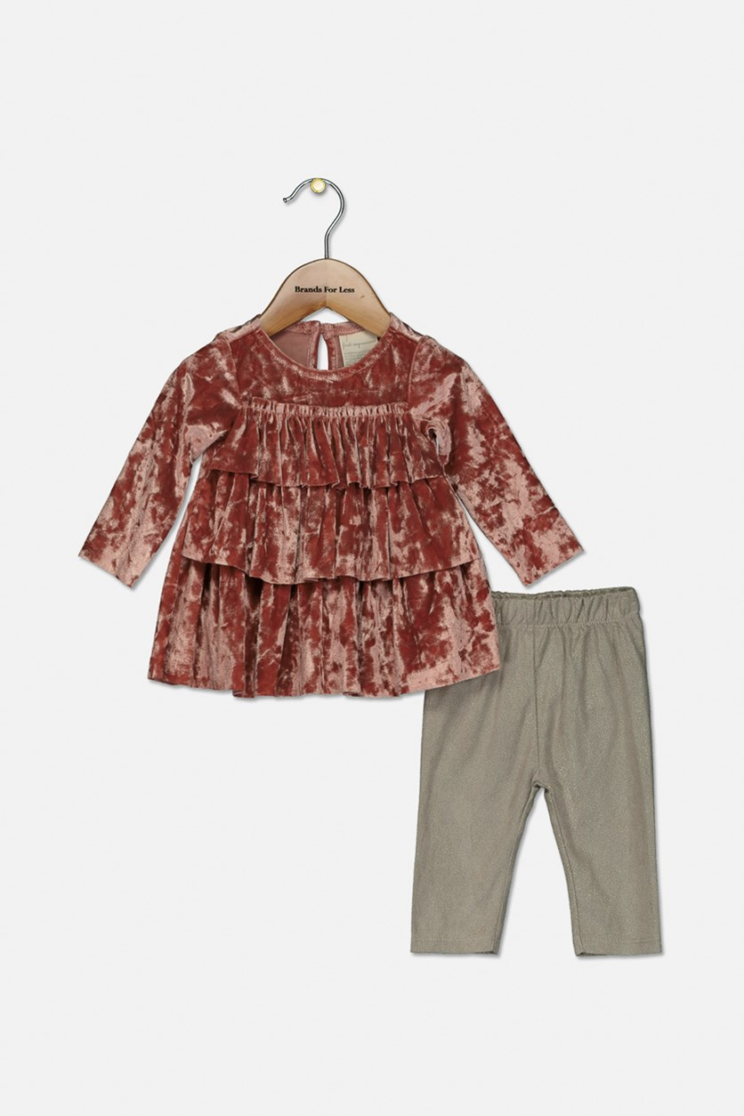 Baby Girls 2-Pc. Crushed-Velvet Tunic & Leggings Set, Crushed Papaya