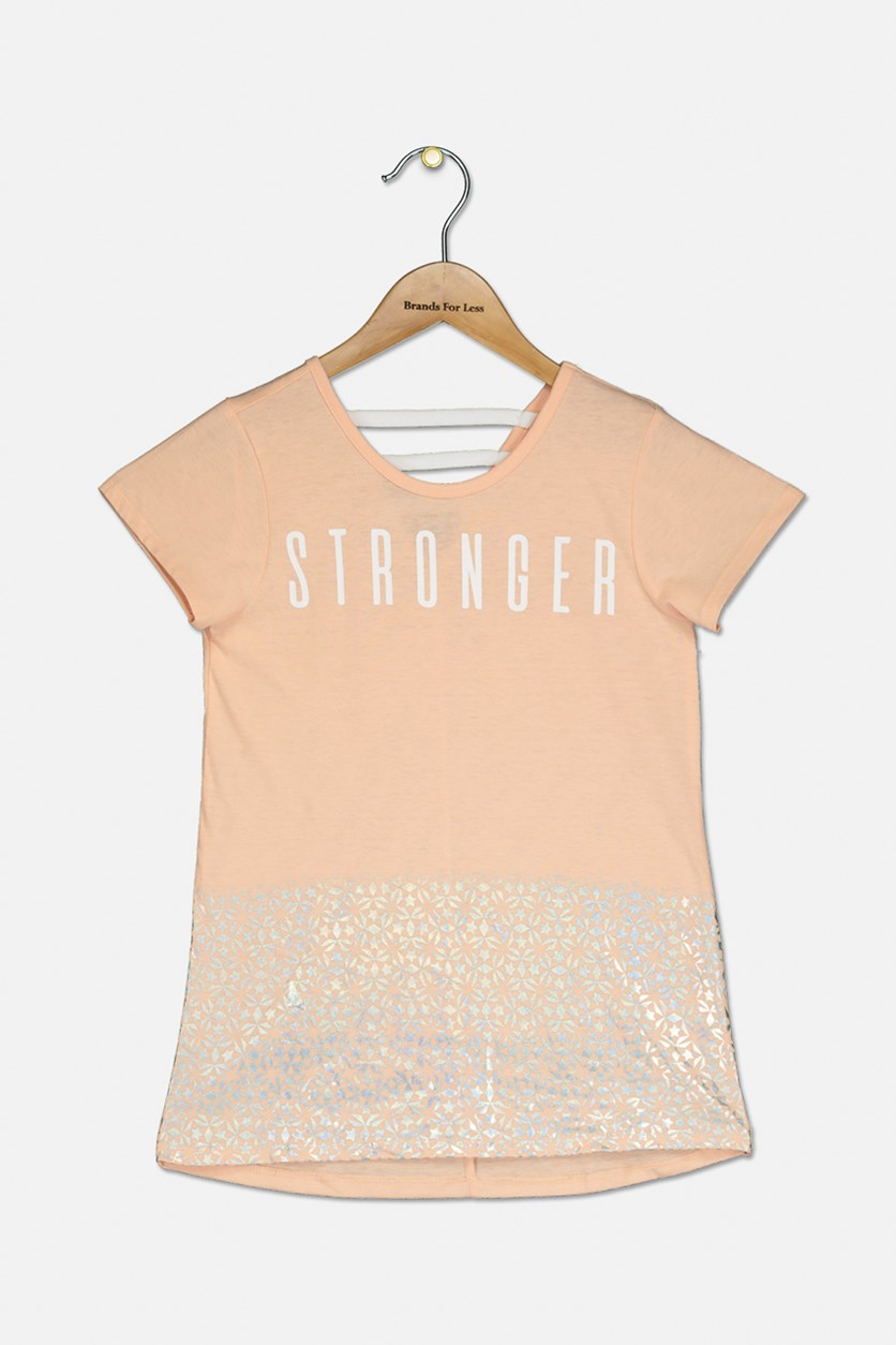 Big Girls Stronger Graphic T-Shirt, Iced Peach