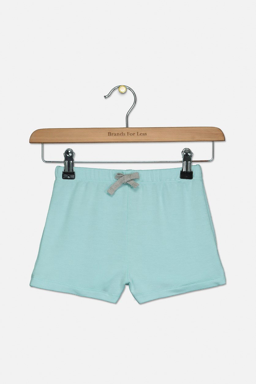 Little Girls Bow-Waist Shorts, Blue Light