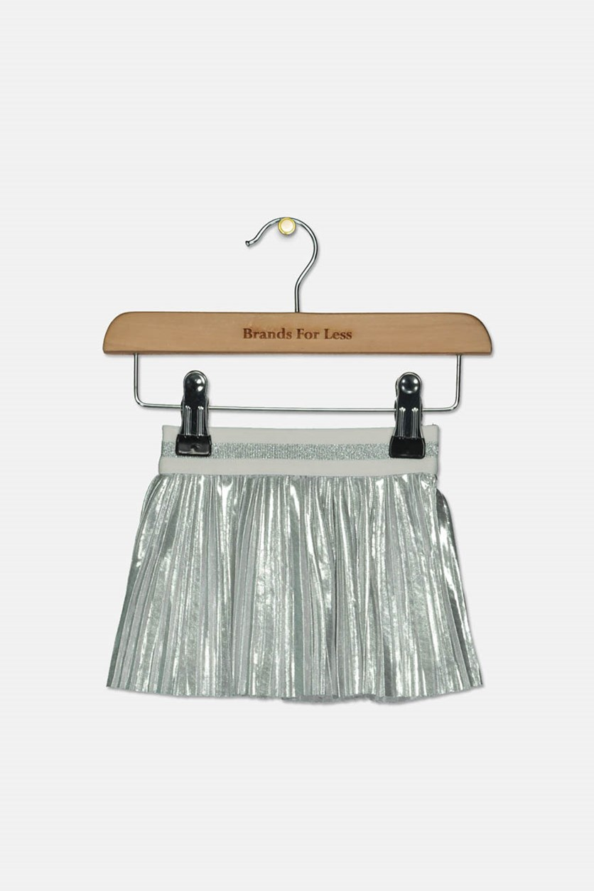 Baby Girls Metallic Pleated Skirt, Silver