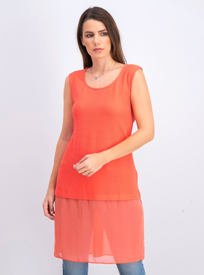 Women's Sleeveless Blouse Tunic Top, Coral Branch