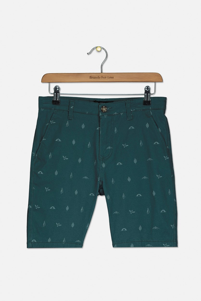 Kids Boys Printed Short, Green