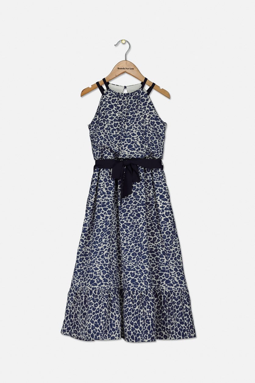 Little Girls Animal-Print Maxi Dress, Blue