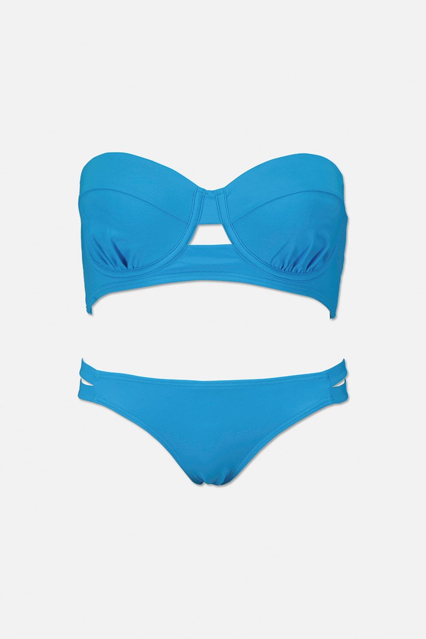 Abbi Bra-Sized Underwire Bikini Top And Bottom Set, Tidal Wave