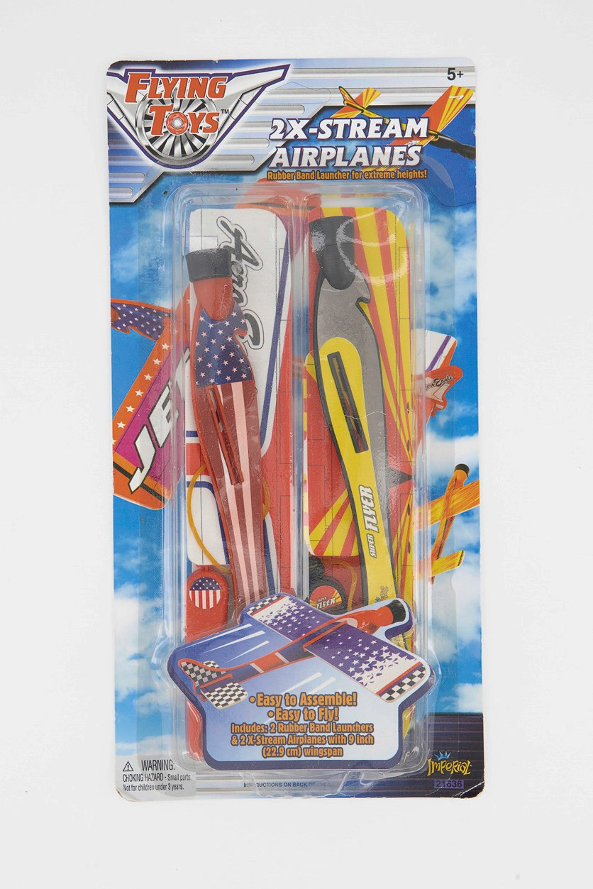 2x-Stream Airplanes Flying Toys, Red/Grey