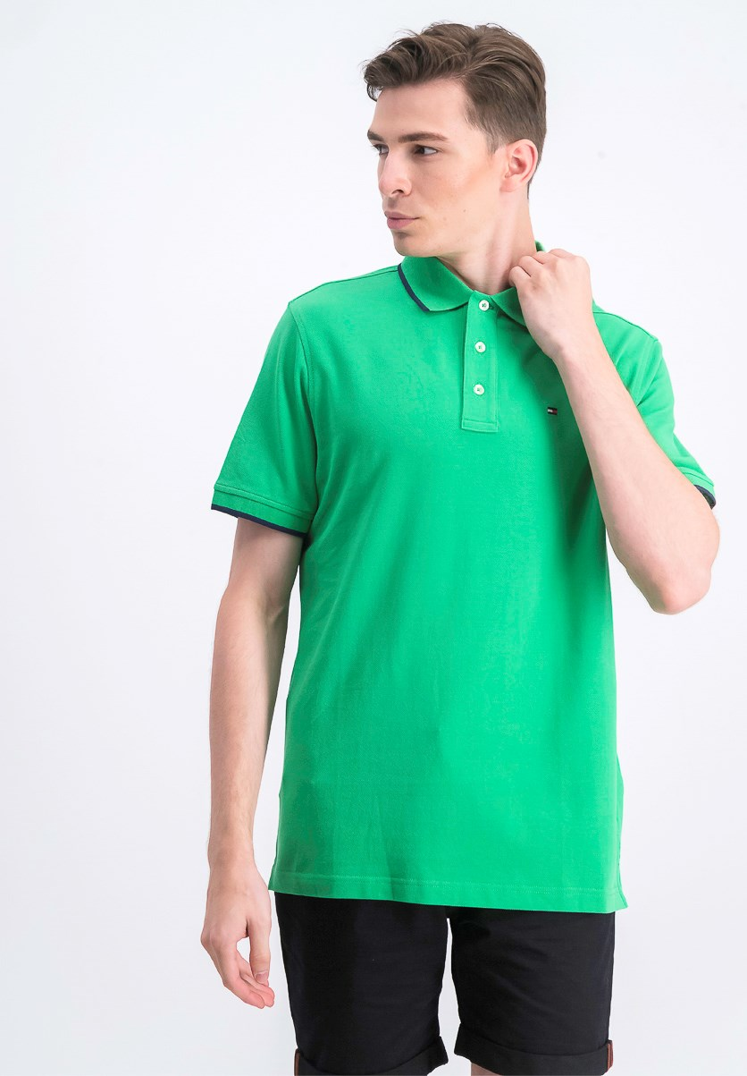 Men's Pique Polo Shirt, Green/Navy