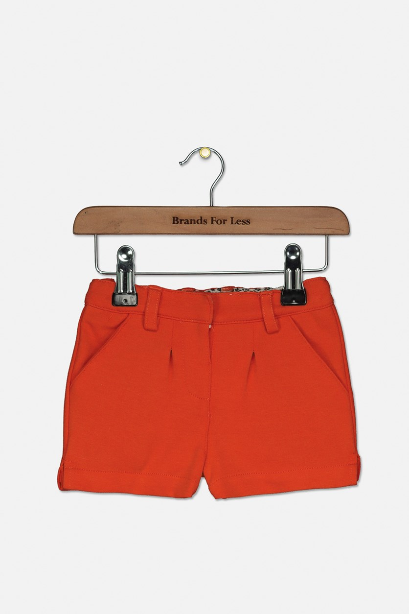 Toddlers Slant Pocket Shorts, Dark Orange