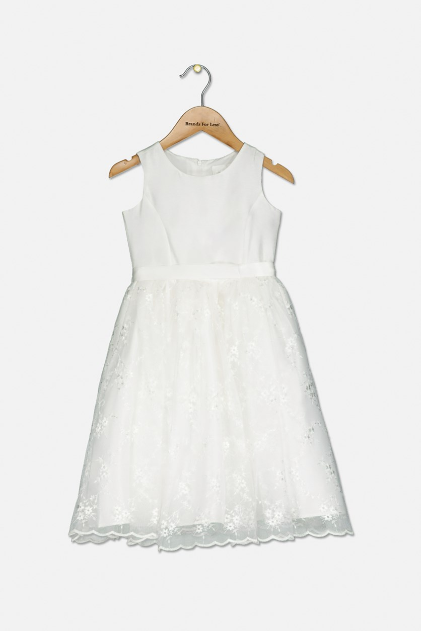 Baby Girl's Embroidered Communion Dress, Ivory