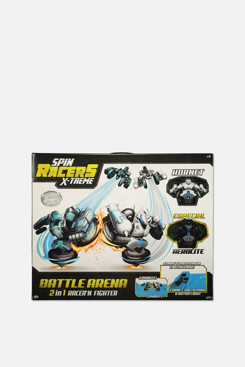 Spin Racers X-Treme 2 in 1 Battle Arena, White/Black
