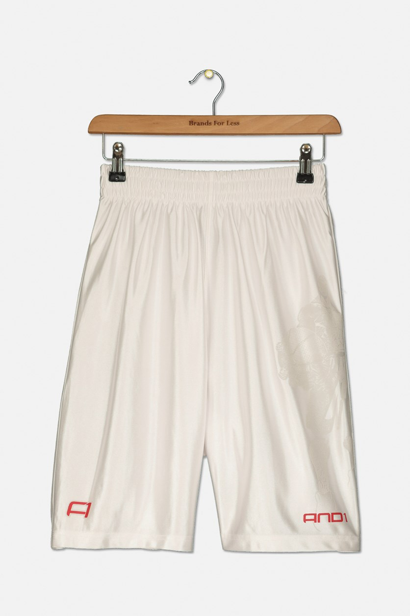 Boy's Basketball Short, White