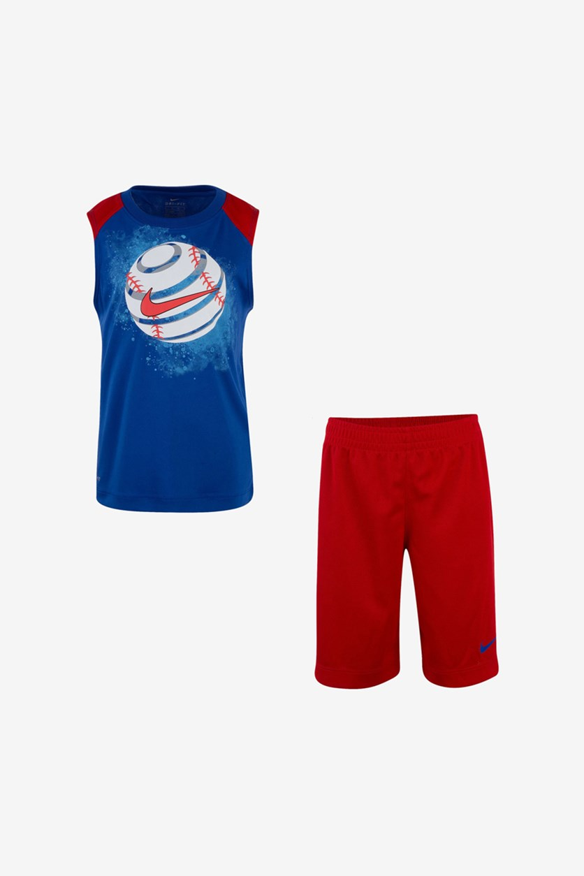 Toddler Boys Sport Muscle Short Set, Blue/Red
