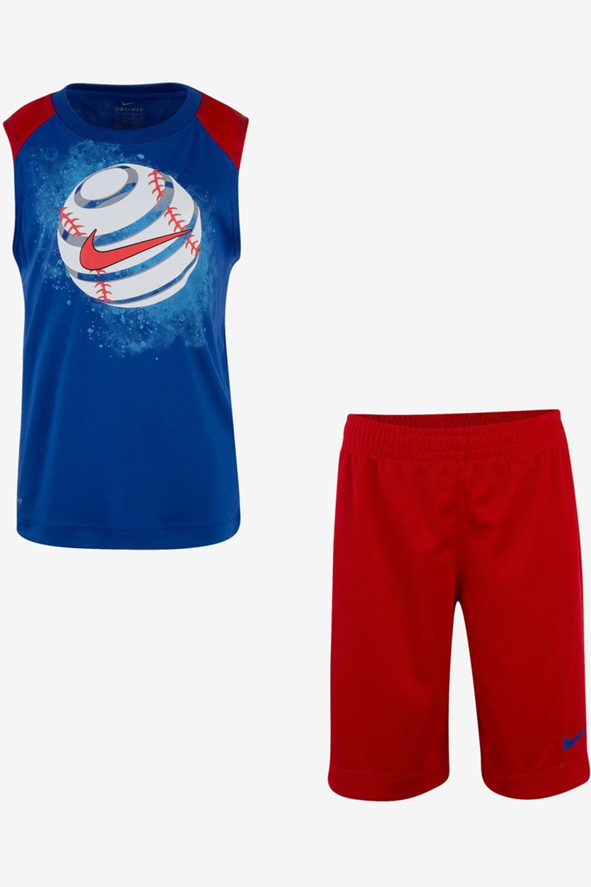 Toddler Boys 2-Pcs. Dri-fit Sport Graphic Muscle Tank & Shorts Set, Red/Blue