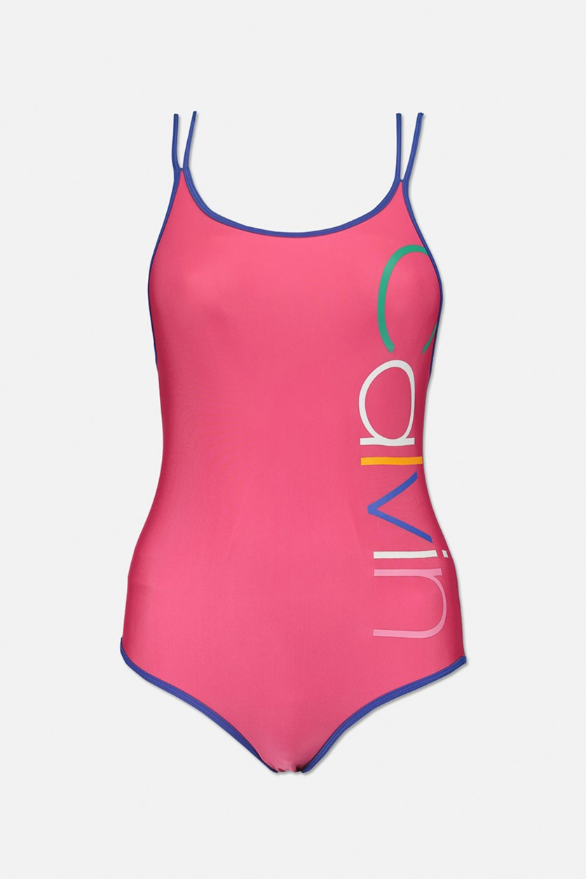 Big Girls 1-Pc. Logo Swimsuit, Fuchsia