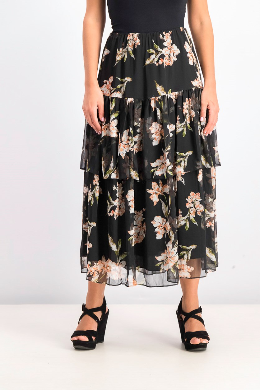 Womens  Tiered Georgette Peasant Skirt, Black Combo