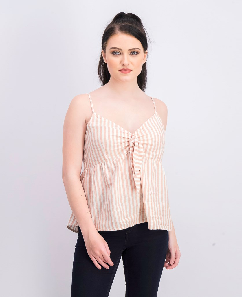 Women's Sleeveless Top, Pink/White