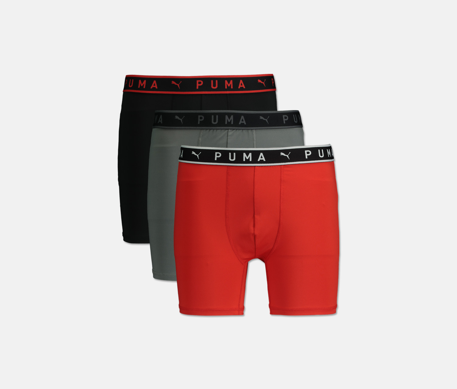 Men's Performance 3 Pck Boxer Briefs, Red/Black/Grey