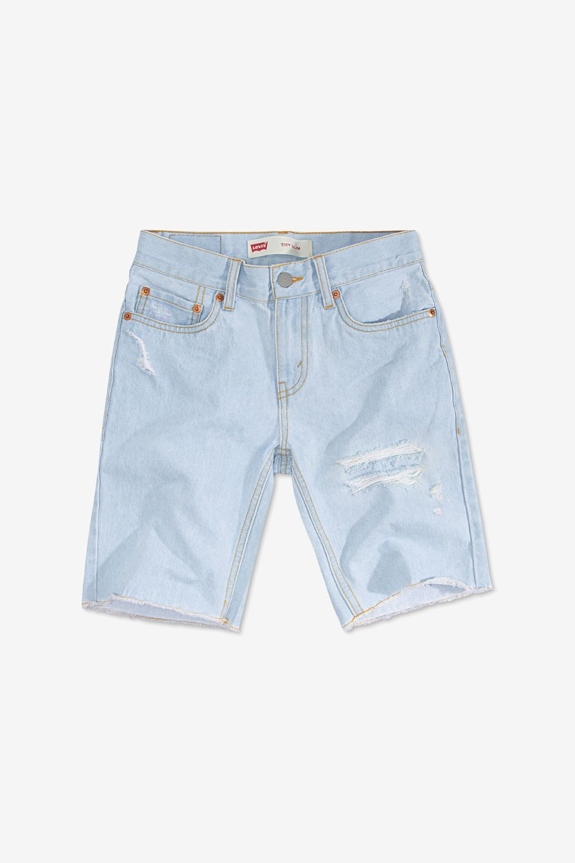Big Boys 511 Distressed Slim Cotton Shorts, Blue Wash
