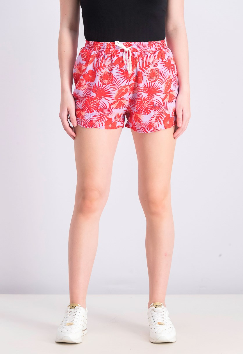 Women's Pull On Printed Shorts, Red/Purple
