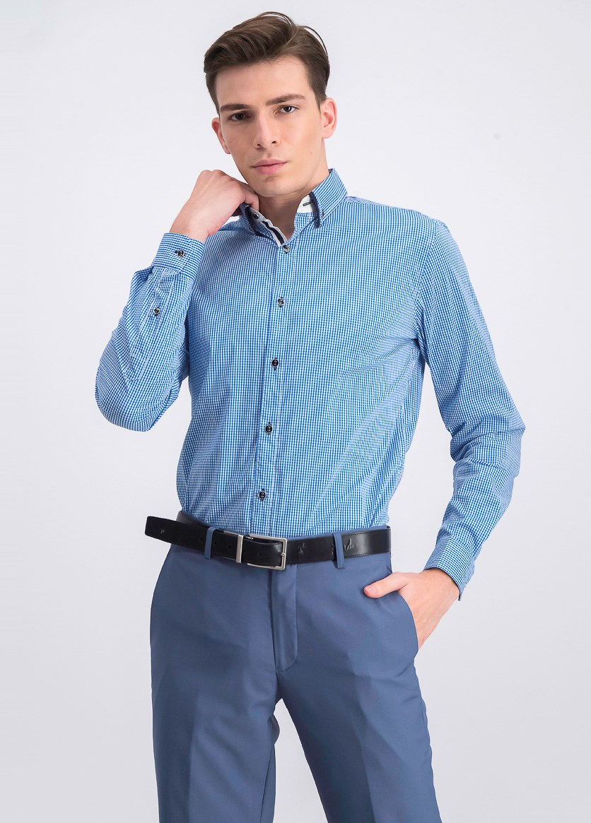 Mens Checkered Shirt, Blue Combo