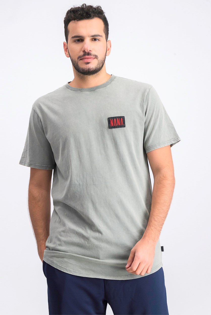 Men's Graphic Crewneck Short Sleeve Tee, Acid Grey