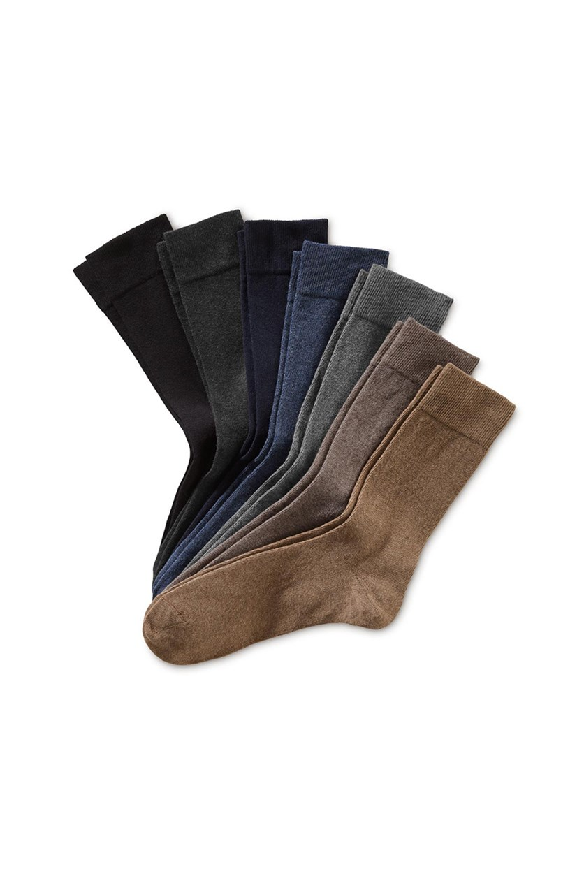 Mens 7 Pairs Of Socks, Brown/Blue/Black