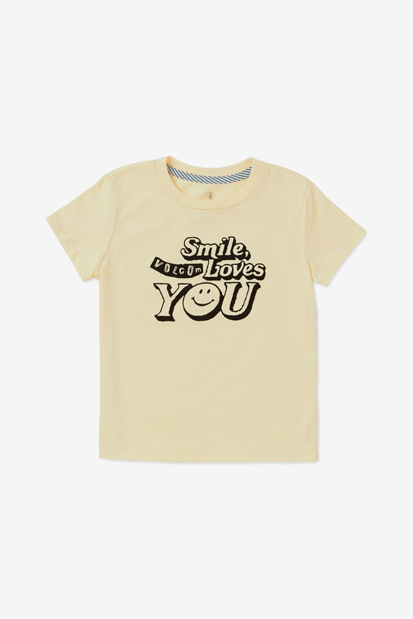Toddler & Little Girls Smile-Print T-Shirt, Yellow