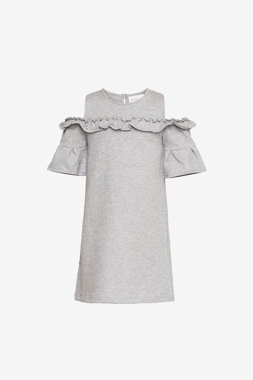 Toddler Girl's Cold Shoulder A-Line Dress, Heather Grey